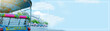 Leinwanddruck Bild - web banner asia local travel in city activity with close up backside of local taxi (tuk tuk) with driver and tourism drive on street of bangkok Thailand with grandpalace landmark background