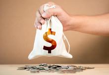 Hand Holding US Dollar Bag On ...