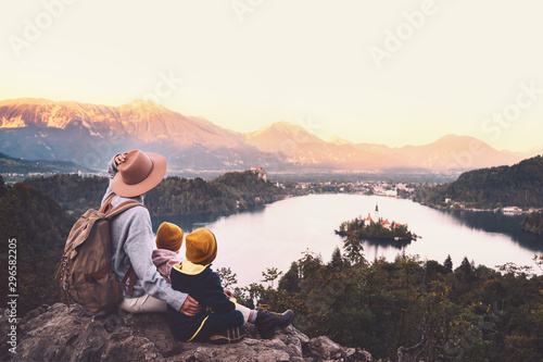 Fototapeta Journey Slovenia with kids. Family travel Europe. View on Bled Lake obraz