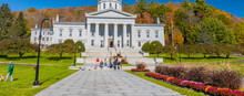 MONTPELIER, VT - OCTOBER 10, 2015: Vermont State House In Autumn Season With Tourists