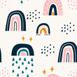Various rainbows. Kids drawing style. Different ornaments. Childish scandinavian style. Flat design. Hand drawn colored vector seamless pattern. Modern trendy illustration. Pastel colors