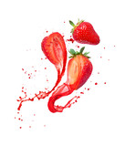Juice splashes out from cutted strawberries on a white background
