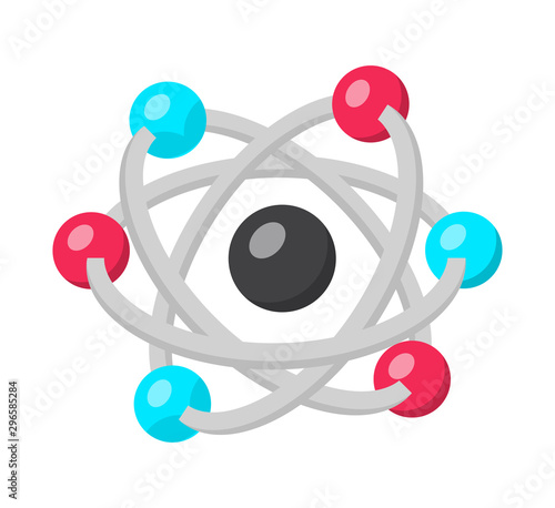 Obraz Atom structure model flat vector illustration - fototapety do salonu