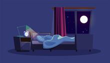Empty Bedroom At Night Flat Vector Illustration