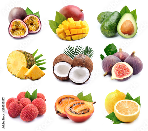 Collage of exotic fruits.