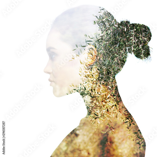Foto op Aluminium Olijfboom Double exposure portrait of beautiful girl in profile. Young woman and olive trees.