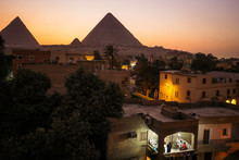 Great Pyramids Of Giza At Night