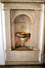 Ancient Stoup In The Charterhouse Of Padula, Salerno, Italy