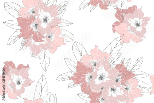 Seamless pattern of pink azalea flowers isolate on white background Canvas Print