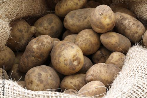 Fotografija raw potatoes in the jute sack