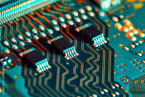 Photo Electronic circuit board close up.