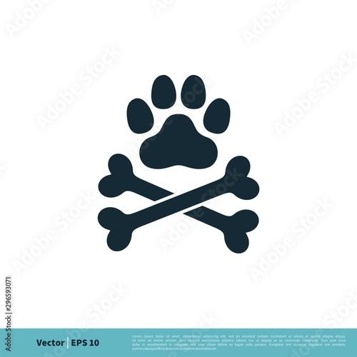 Fotografía  Paw Print Pet and Bone Icon Vector Logo Template Illustration Design