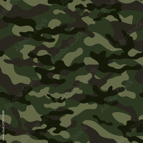 camouflage military green military seamless pattern. Vector Wallpaper Mural