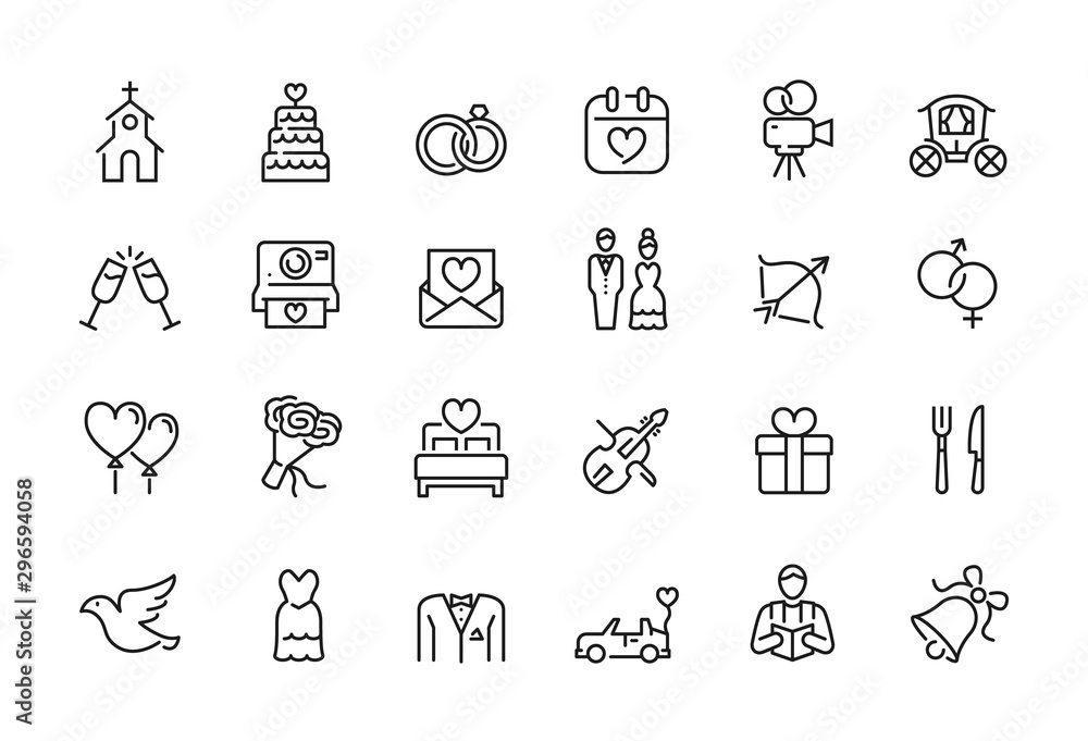 Fototapeta Minimal wedding icon set - Editable stroke illustration - 64x64 pixel perfect