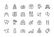 Minimal Wedding Icon Set - Editable Stroke Illustration - 64x64 Pixel Perfect