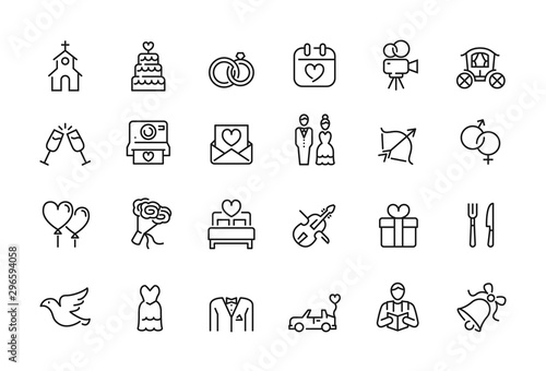 Fototapeta Minimal wedding icon set - Editable stroke illustration - 64x64 pixel perfect obraz