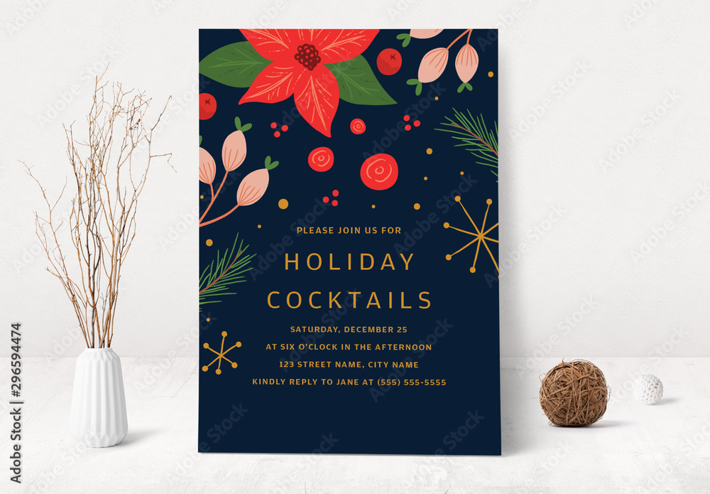 Fototapety, obrazy: Christmas and Holiday Cocktail Party Invitation Layout