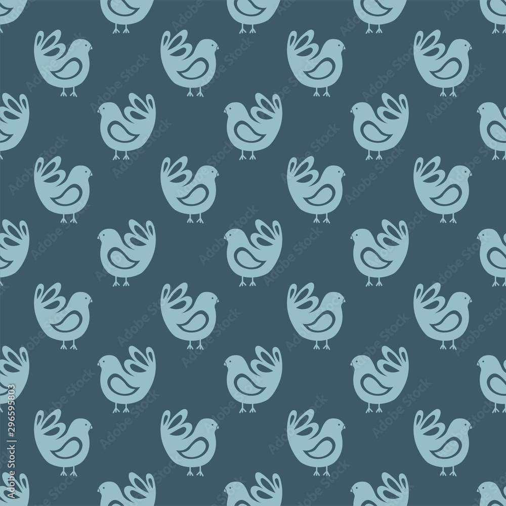 Seamless pattern with blue bird in flat style. Background with folklor pattern for fabric, textile, Wallpaper, wrapping paper. vector illustration