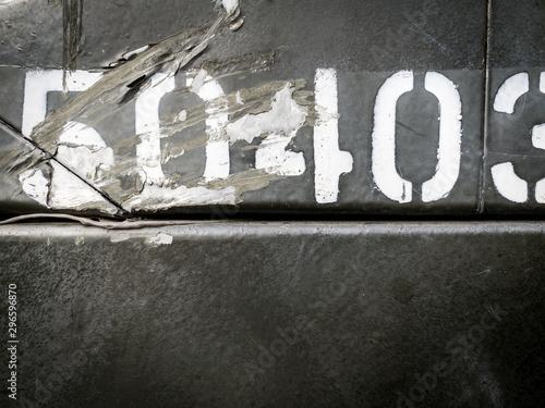 Fotografie, Tablou  Urban decay white stencil type on grey