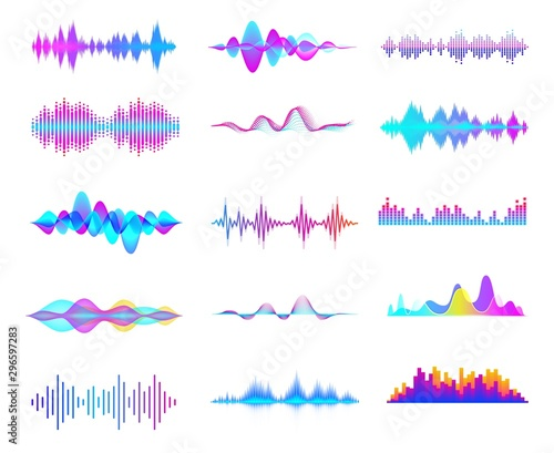 Fotomural  Colorful sound waves