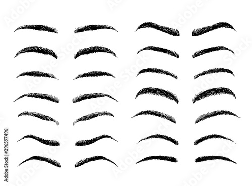 Canvas-taulu Eyebrows shapes vector set, sketch collection isolated on white background