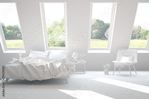 Foto auf Gartenposter Weiß Stylish bedroom in white color with smmer landscape in window. Scandinavian interior design. 3D illustration