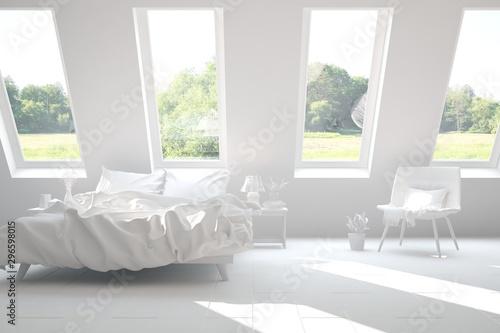 Montage in der Fensternische Weiß Stylish bedroom in white color with smmer landscape in window. Scandinavian interior design. 3D illustration