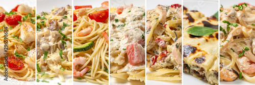 Collage of dishes from different types of pasta Fotobehang