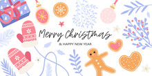 Christmas And New Year Banner, Party Invitation, Landing Page Or Greeting Card With Floral Elements, Home-made Cookies And Gifts. Vector Illustration Of Cute Christmas Decorations In Trendy Colors.