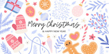 Creative Christmas And New Year Set Or Collection Or Banner With Floral Elements, Homemade Cookies And Gifts And Other Decor. Vector Illustration Of Cute Christmas Decorations In Trendy Bright Colors.