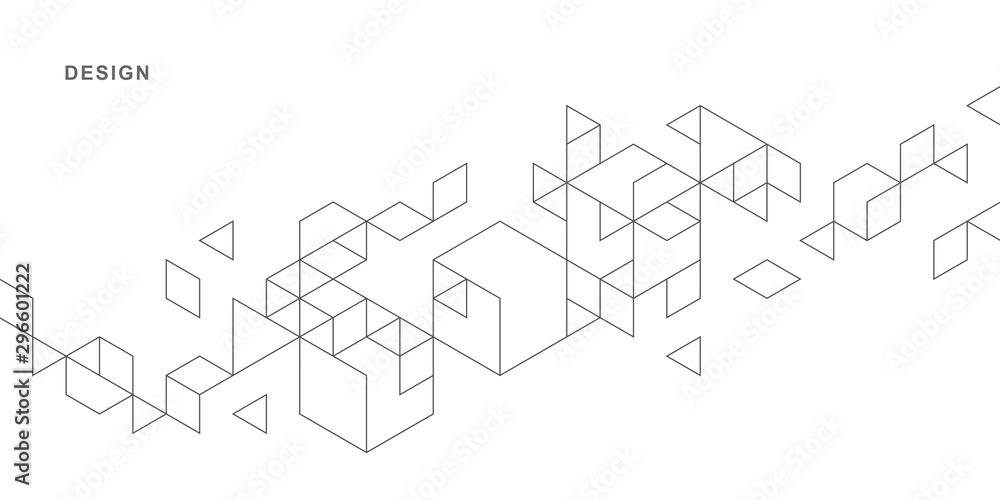 Fototapeta Abstract geometric technological background. Vector creative design.