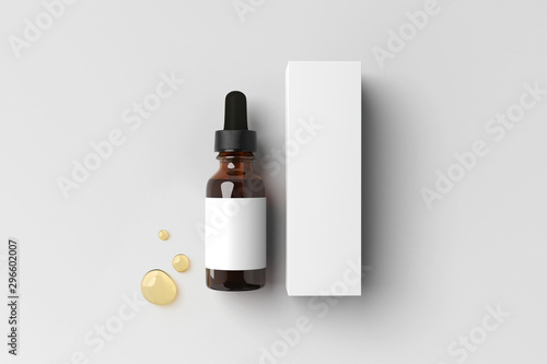 Fotografie, Tablou  Serum bottle and package 3d illustration isolated on white background