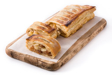 Traditional Homemade Apple Strudel Slice Isolated On White Background