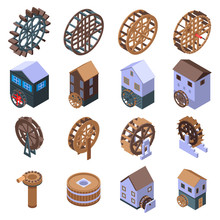 Water Mill Icons Set. Isometri...