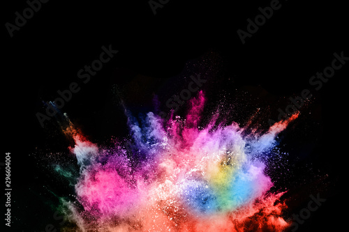 abstract colored dust explosion on a black background.abstract powder splatted background,Freeze motion of color powder exploding/throwing color powder, multicolored glitter texture. - 296604004