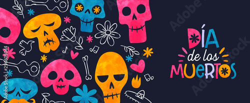 Poster Crâne aquarelle Day of the dead mexican sugar skull spanish banner