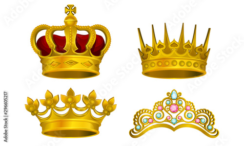 Obraz na plátně Royal Golden King Jewelry Vector Illustrated Collection