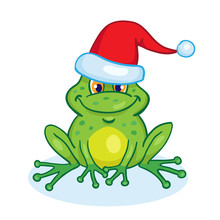 Little Funny Green Frog In A S...