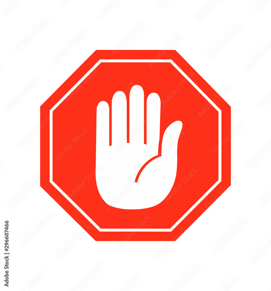 Fototapety, obrazy: Hand stop icon vector sign symbol vector on white