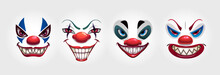 Crazy Clowns Faces On White Ba...