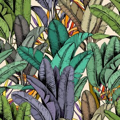 Naklejka Do kuchni Seamless pattern with tropical banana leaves and strelitzia flowers. Hand drawn vector illustration.
