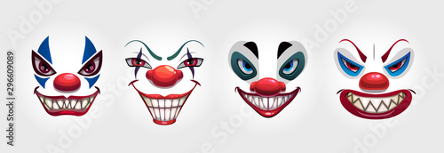 Foto Crazy clowns faces on white background. Circus monsters.