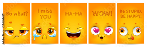 Funny yellow posters with comic cartoon faces and text on them.