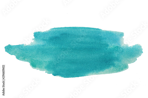 Obraz A stain of blue acrylic paint with sparkles. Isolate on a white background.. - fototapety do salonu