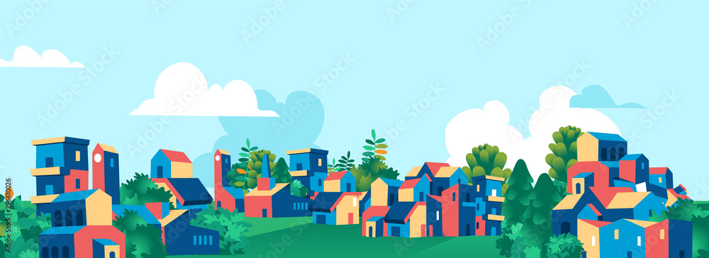 Fototapeta Cartoon town city village skyline vector illustration