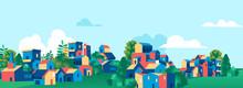 Green Town Village Skyline Vector Illustration