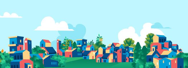 Kreskówki miasta wioski linii horyzontu wektoru grodzka ilustracja