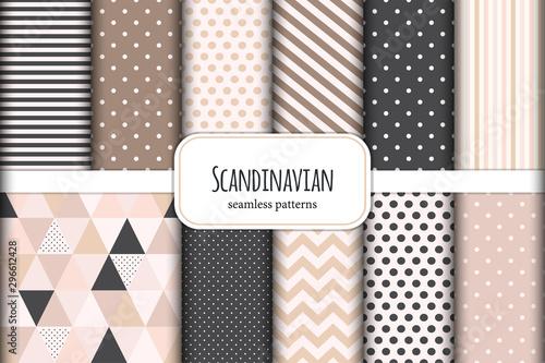 Spoed Fotobehang Kunstmatig Cute set of Scandinavian geometric seamless patterns in neutral palette colors, vector illustration