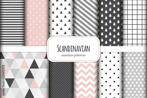 Photo Stands Pattern Cute set of Scandinavian geometric seamless patterns in neutral palette colors, vector illustration