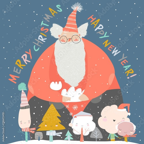 Funny Santa Claus with winter trees. Merry Christmas
